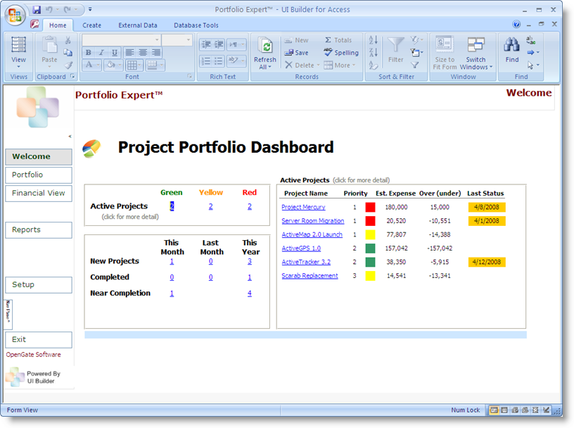 Microsoft Access Dashboard for Project Portfolio Management | The ...